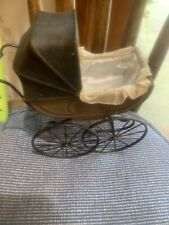 Vintage German Lined Metal Doll Carriage. 7� Tall 7� long About 3� Wide. Brown