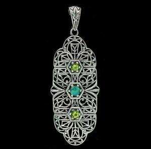 Fire Opal & Peridot 925 Sterling Silver Victorian Filigree Pendant Jewelry