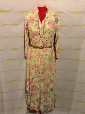 "Vintage ""Lisanne"" Pastel Floral 3/4 Sleeve Zip Up Maxi Dress"