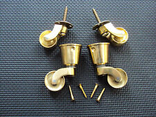 SET OF 4 BRASS CASTORS, TWO CUP FITTING AND TWO SCREW IN  FIXING