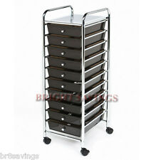 New 10 Black Drawers Metal Rolling Cart Scrapbook Supply & Paper Storage Cart