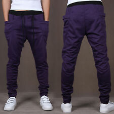 Mens Casual Harem Pants Running Sports Baggy Trousers Skinny Fitness Sportpant