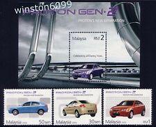 2005 Malaysia Proton New Generation Gen-2 Cars 3v Stamps + Mini-Sheet Mint NH