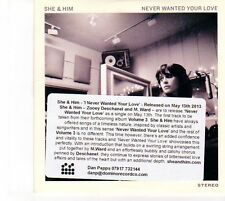 (DZ756) She & Him, Never Wanted Your Love - 2013 DJ CD