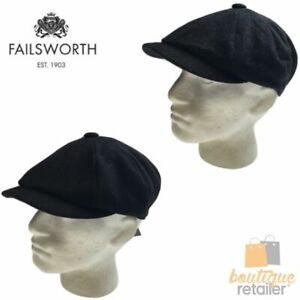FAILSWORTH Alfie Melton Cap Wool Blend Flat Driving Hat Warm MADE IN UK New