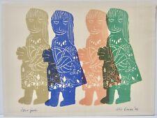 ALEC COWAN Vintage Mid-Century Modernist Woodcut Girls Children Figures Modern