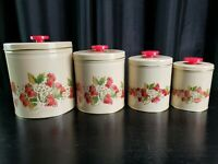 Tin Canister Strawberries Set of 4 Nesting Enamel Kitchen USA 60's Vintage