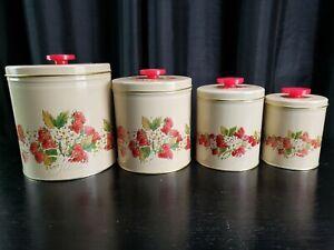 Tin Canister Strawberries Set of 4 Nesting Enamel Kitchen USA 60's Vintage