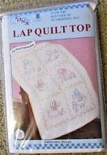 Jack Dempsey Stamped cross stitch / embroidery Lap Quilt Top SUNBONNET SUE