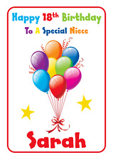 balloons personalised A5 birthday card daughter sister granddaughter name age