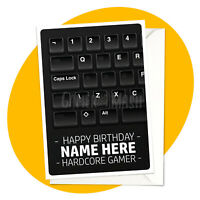Hardcore Gamer PERSONALISED BIRTHDAY CARD - personalized gamer greeting PC wasd