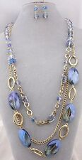 Layered Gold Chain With Blue Glass Necklace Earrings Set Fashion Jewelry NEW