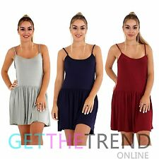 Womens Cami Swing Dress Ladies Plain Summer Long Flared Strappy Top CHEAP New