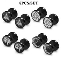 4 Pairs Faux Gauges Earrings Stainless Steel Fake Ear Stud Plugs Illusion Tunnel