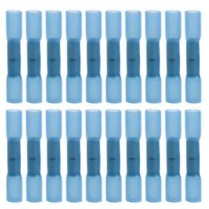 100Pcs 14-16 Gauge Blue AWG Heat Shrinkable Butt Wire Connector Crimp Term C9H9
