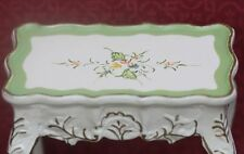 Dollhouse Miniature Hand Painted Green & White End Table w/ Gold Emboss