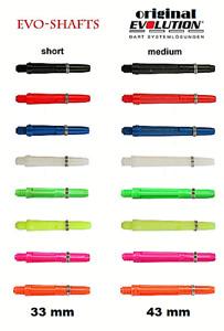 6 x original EVO-Evolution Dart Shafts,shaft,schaft Neuheit 8 Farben, 33mm,43mm