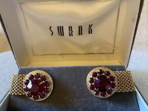 Vintage Fancy Red Rhinestone? Jewels Gold Tone Mesh WrapAround Cufflinks Links