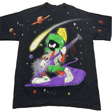 Vintage 90s Giant Mens L Marvin The Martian All Over Print Double Sided T Shirt