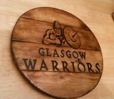 Glasgow Warriors rugby barrel top plaque wooden sign  mancave shed bar pub