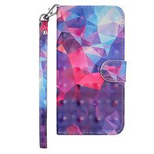 3D Flip Patterned PU Leather Card Pocket Kickstand Strap Case TPU Cover Bumper 2
