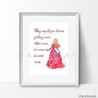 Sleeping Beauty Quote Disney Print Watercolor Poster Wall Art Framed Canvas