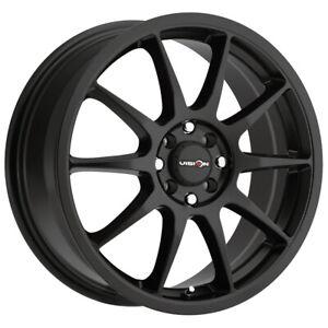 """Vision 425 Bane 15x6.5 4x100/4x108 +38mm Matte Black Wheel Rim 15"""" Inch"""