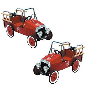 Great Gizmos Niños Clásico Vintage Rojo Coche de Bomberos Camión Pedal Juguete