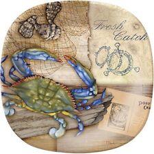"""Merritt - Melamine Square Salad Plate - Fresh Catch Crab - 8.5"""""""