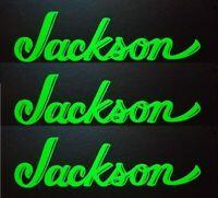 Jackson Guitar Headstock Logo Die-Cut Vinyl Decal Sticker, OEM NEON Green
