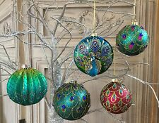 Gisela Graham Peacock Collection Feather Glass Baubles Vintage Glitter Christmas