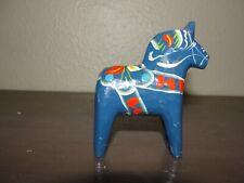 Vintage Blue Swedish Dala Horse Figure Hand Painted Wood Small
