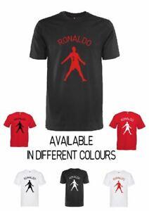 Ronaldo Man Utd Logo T-Shirt Football Merch  1-2yrs up to 3XL black white & red