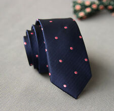 NEW Fashion Men Dark Blue Polka Dot Wedding Neck Tie Necktie Narrow Slim Skinny
