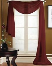 "1 SCARF VALANCE SHEER FABRIC ELEGANT WINDOW CURTAIN DRAPE 35""X216"" BURGUNDY"