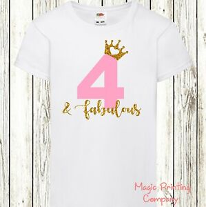 Girls 4th 5th Birthday T-shirt Top  & Fabulous Outfit Party Dress Photo shoot