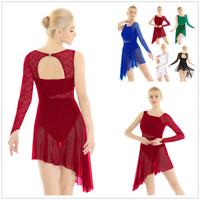 Women Girl Lyrical Lace Mesh Dance Costume Dress Asymmetric Skirt Leotard Ballet