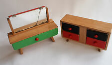 Wooden Doll House Dresser Vanity Set Vintage Japan Chest of Drawers Painted