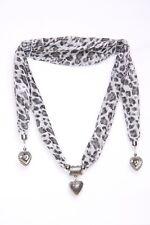 Blanco y Gris Estampado de Leopardo pesado adornos de corazón de plata Femenina Coqueta Bufanda (S108