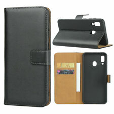 For Samsung Galaxy A70 A70s Black Genuine Leather Wallet Case Cover, Holds Cards