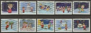 Scott #5021-30 Used Set of 10, Charlie Brown Christmas (Off Paper)