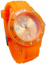 VYBZ Orange Silicone Band Wristwatch Unidirectional Bezel Glow in the Dark Marks