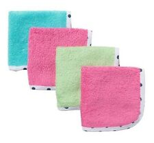 Gerber Girl 4-Pack Solid Washcloths Pink/Blue/Green; Baby Clothes Shower Gift
