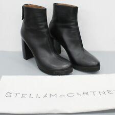 Stella McCartney Black Vegan Faux Leather Heeled Boots Size 38