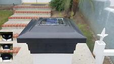 "6-pk Solar Black Cap Light With 4 Bright White SMD LED For 5""x5"" PVC/Vinyl Post"