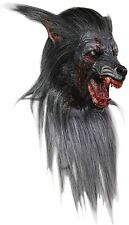 Halloween Costume GROWLING BLACK WOLF WITH HAIR LATEX DELUXE MASK Haunted House