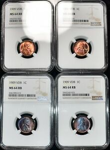 4x NGC MS-64 RB 1909-P VDB Lincoln Cents, Blazing, Red-Brown specimens.