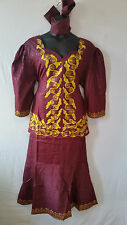 Women Clothing African Dashiki Skirt Suit Attire Maroon Free Size Print #9319
