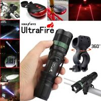 50000LM Zoomable LED T6 LED Flashlight Torch +Bike Holder For Ultrafire Torch