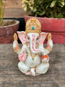 Vintage Ceramic Painted Hindu Religious God Ganesha Statue Sculpture
